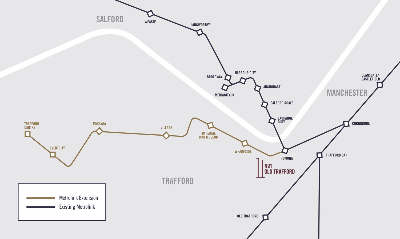 No1 Trafford Metrolink Tram Station Map.