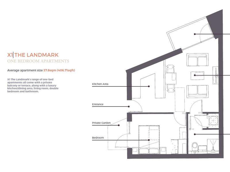 Landmark One Bedroom Apartment Floorplan