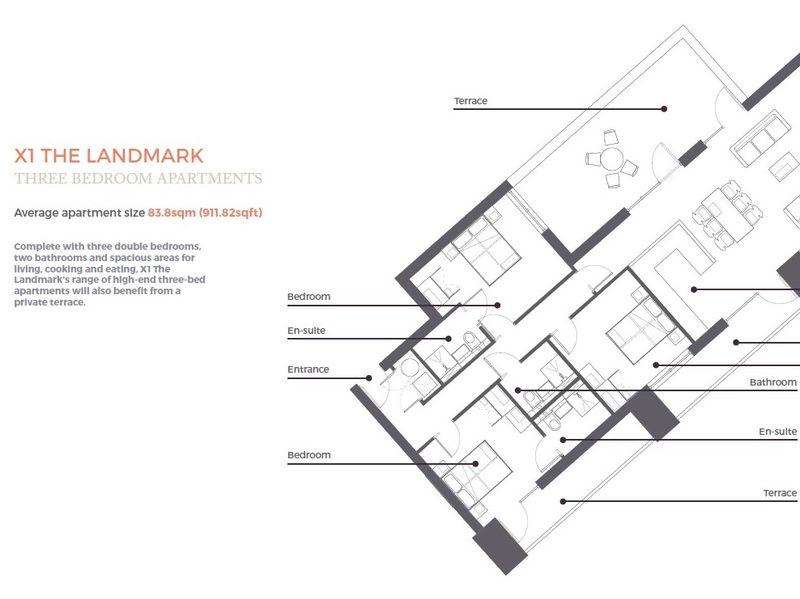 Landmark Three Bedroom Apartment Floorplan