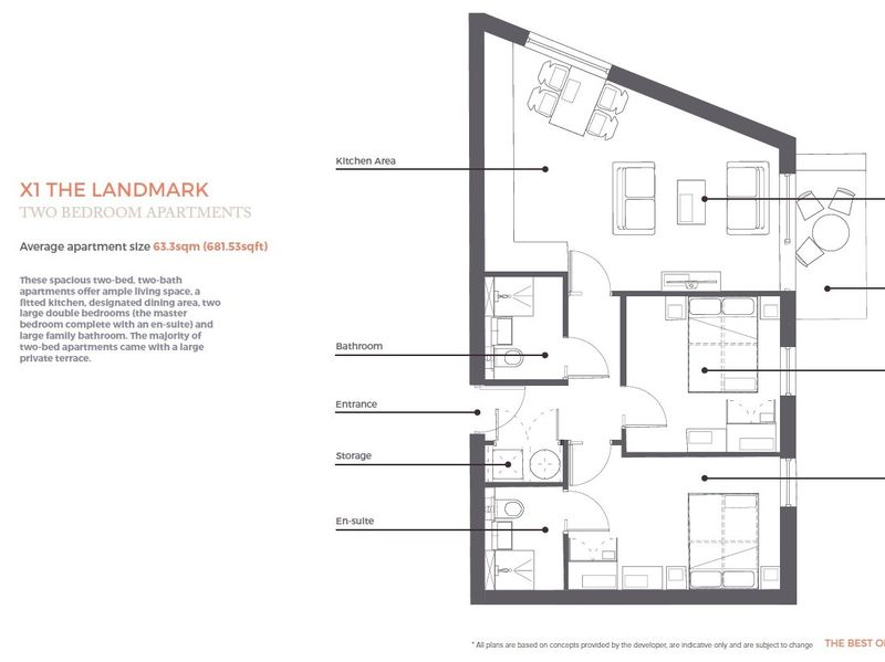 Landmark Two Bedroom Apartment Floorplan
