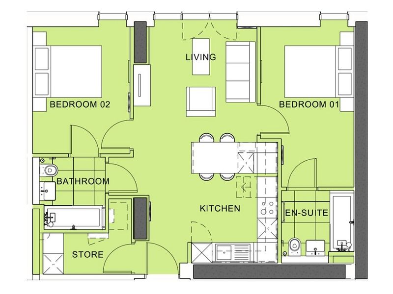 Tower 1 - Two Bedroom Apartment